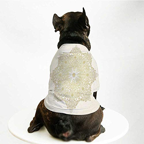 YOLIYANA Gold Mandala Cute Pet Suit,Antique Lace Pattern Blooming Asian Garden Theme Filigree Style Traditional Decorative for Small Medium Large Size Dogs Cats,M