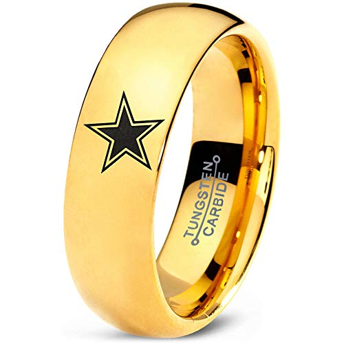 Zealot Jewelry Tungsten Star Space Galaxy Universe Solar System Band Ring 7mm Men Women Comfort Fit 18k Yellow Gold Dome Polished Size ()