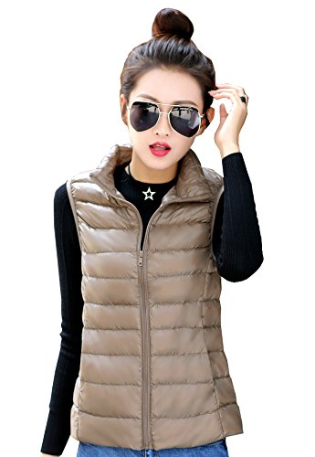 Beige Womens Quilted Vest (Jackcsale Women's Packable Ultra Light Down Jacket Coat Puffer Vest)