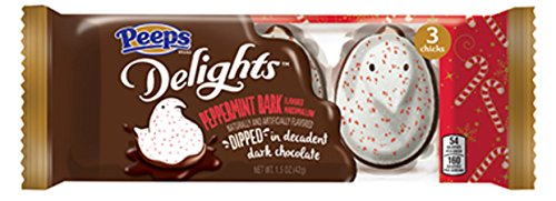 Peeps Delights Exclusive Holiday Marshmallows! Choose Hot Chocolate, Peppermint Bark, Cinnamon Roll, Or Sugar Cookie Flavors! One Pack Contains 3 Peeps! (Peppermint Bark Dipped In Dark Chocolate)