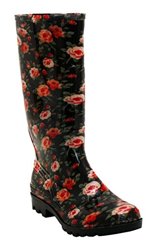 A&H Footwear Ladies Womens New Waterproof Rubber Festival Rain Mud Snow Girls Wellington Boots Wellies Sizes UK 3-8 Floral Roses