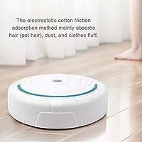 Robot Aspirador, Robot Aspirador Automático, Cepillo De Cerdas para Alfombra De Pelo Corto, USB Recargable (Blanco/Batería): Amazon.es: Hogar