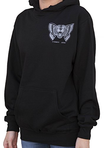 Women's Flying Tiger by Jacob Doney Wild Cat Butterfly Lowbrow Tattoo Art Hoodie -