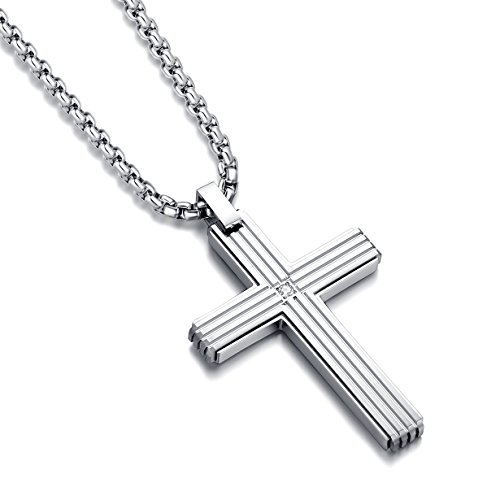 (Reve Jewelry Simple Stainless Steel CZ Inlay Cross Pendant Necklace for Men Women, 20''-24
