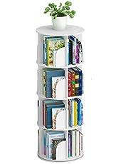 Toytexx 4 Tier 360° Rotating Stackable Shelves Bookshelf Organizer-White Color