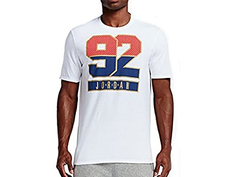 Red 7 Gold Shirt Jordan Retro T Blue Men's Nike 92 White clTFK1J