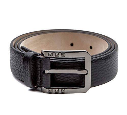 Wiberlux Valentino Men's Rockstud Detailed Buckle Pebbled Real Leather Belt 90 Black