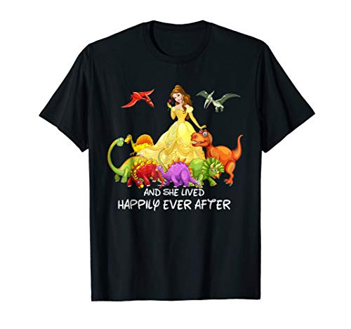 And She Lived Happily ever After Dinosaur T-Shirt by Funny Dinosaur Gift Shirts