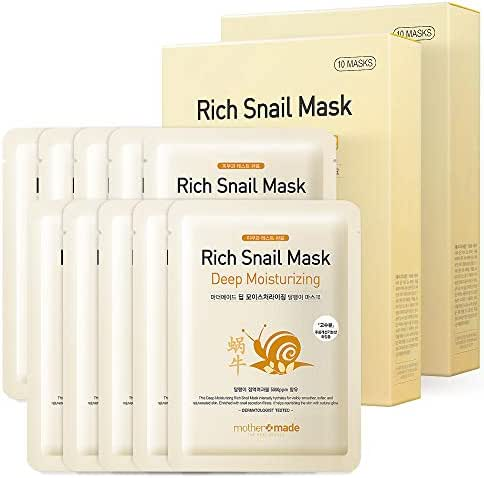 MOTHER MADE Deep Moisturizing Rich Snail Face Sheet Mask with Snail Secretion Filtrate 5,000 ppm, Pack of 20, for Hydrating, Anti-Aging