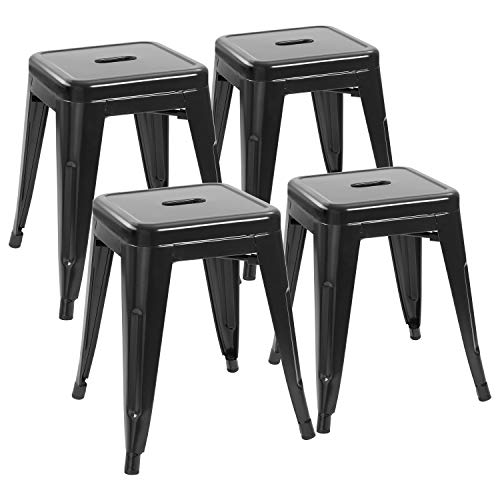 JUMMICO Metal Bar Stools Indoor-Outdoor Stackable Restaurant Stools 18inches Industrial Backless Barstools Set of 4 for Commercial Trattoria Bistro Black