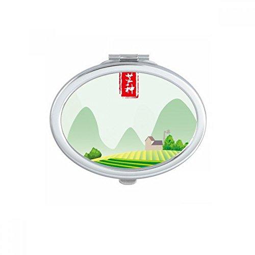 Circlar Grain In Ear Twenty Four Solar Term Oval Compact Makeup Mirror Portable Cute Hand Pocket Mirrors Gift by DIYthinker