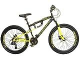 Muddyfox Men's Fox Nevada Dual Suspension/Disc Brakes 21 Speed Mountain Bike, Black/Yellow, 26 Inch