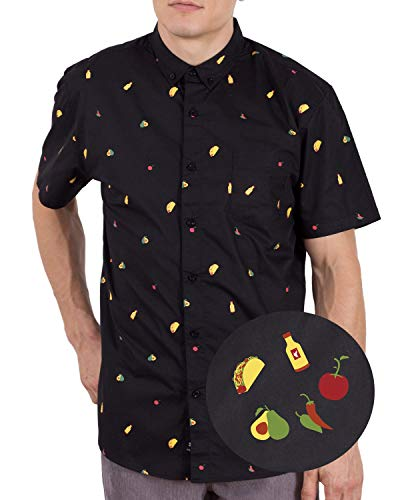 Visive Mens Hawaiian Shirt Short Sleeve Button Down Shirts Taco Black,XL -