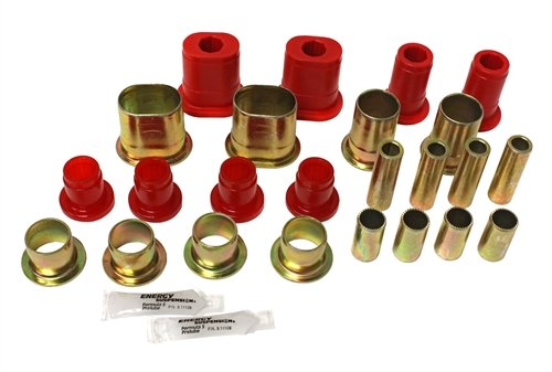 Energy Suspension 3.3172R Control Arms - Energy Suspension Front Control Arm Bushings Control Arm Bushings - Front - Upper - Lower - Polyurethane - Red - Buick - Chevy - Oldsmobile - Pontiac - Car - Kit