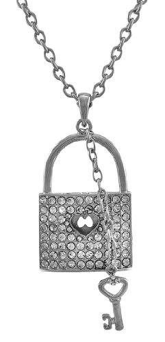 Silver Tone Tiffany Necklace - Silver Tone Rhinestone Lock Necklace with Key Charm 28 in.