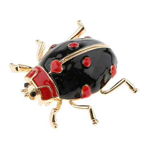 Gold Tone Enamel Ladybug Beetle Insect Series Brooch Pin Kids Adult Corsage   Color - Black]()