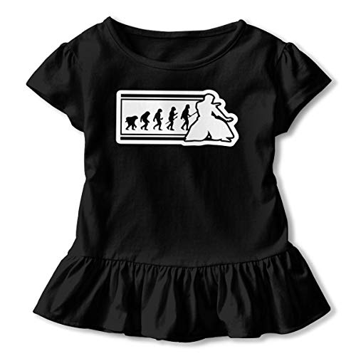 (SHIRT1-KIDS Evolution Karate Apkido1 Toddler/Infant Girls Short Sleeve T Shirts Ruffles Shirt Tee Black)