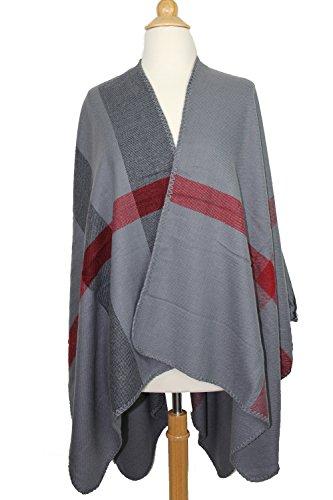 Achillea Women's Color Block Checked Plaid Poncho Cape Shawl Wrap w/ Overlocked Seams (Grey) by Achillea