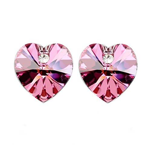 Heart Shaped Swarovski Element Crystal Stud Earrings Fashion Jewelry for Women (Hot Pink) ()