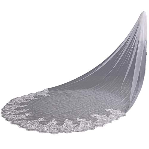 Lace Edge Sequins Cathedral Length Wedding Bridal Veil,Ivory