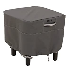 Classic Accessories Ravenna Square Patio Ottoman/Table Cover - Premium Outdoor Furniture Cover with Durable and Water Resistant Fabric, Small (55-168-025101-EC)