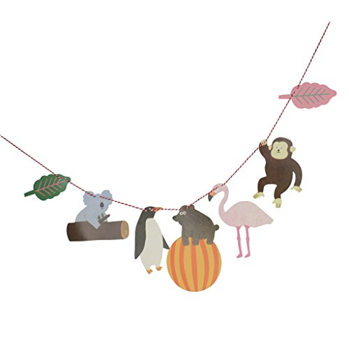 MonkeyJack Tropical Animal Bunting Banner Girl Baby Shower Birthday Party Flamingo Bear Monkey Koala Penguin Leaf Garland Hanging Decoration Penguin Party Shower