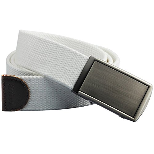 [Samtree Web Canvas Belts for Men Womens,Adjustable Military Belt Automatic Buckle(01-White)] (Ladies Canvas Belts)