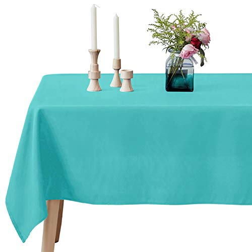 VEEYOO Rectangle Tablecloth - 60 x 102 Inch Polyester Table Cloth for 6 Foot Table - Soft Washable Oblong Turquoise Table Cloths for Wedding, Parties, Restaurant, Dinner, Buffet Table and More