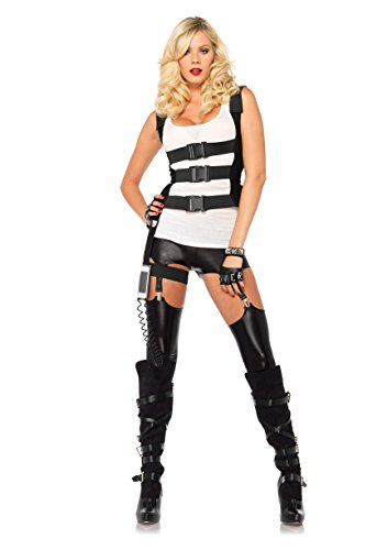 Swat Costume Female (Leg Avenue Women's SWAT Body Harness with Garter Iphone Holder and Walkie Talkie Cord Costume Accessory, Black, Medium/Large)