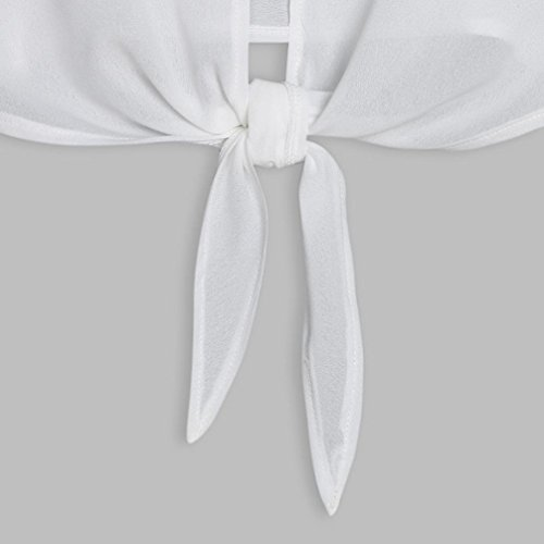 Femme Femme M Loose Bowknot Shirt Tops V Blanc Blouse sans Shirts Sling XL LuckyGirls Court Maxi Gilet Col T Bouton Caraco Manche à Décontractée wf5nqYAC