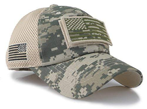 - Camouflage Constructed Trucker Special Tactical Operator Forces USA Flag Patch Baseball Cap (Digital Green)