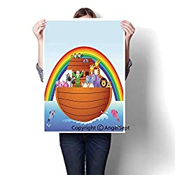 Multicolor Modern Canvas Painting Wall Art,Noah Ark and Colorful Sky Every Kind of Creature Sailing Artful Design Print(16x20),The Picture for Kitchen Decoration