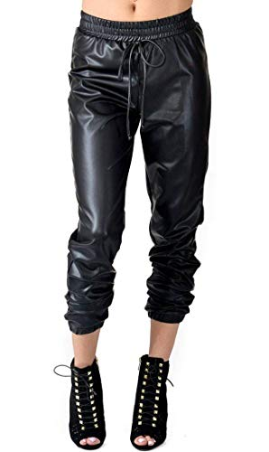 SOHO GLAM Drawstring Faux Leather Joggers -S Black