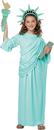 Miss Statue Of Liberty Independence Robe Crown Torch Attire Costume Child Girls ()