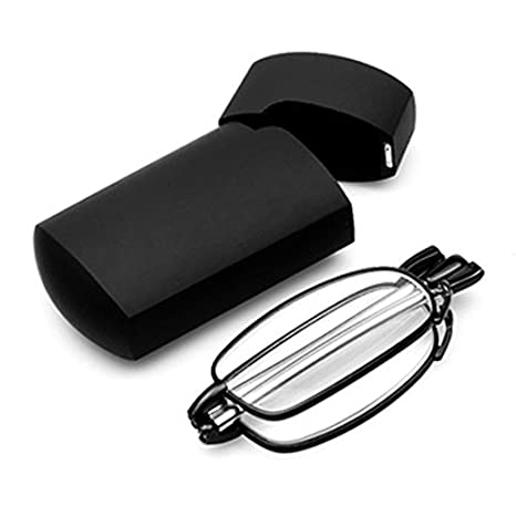 89135c3f8f2e SODIAL(R) Portable 1 Pairs of Compact Folding Reading Glasses with Mini  Flip Top Carrying Case for Fashion Men and Women Rotation Eyeglass +1.5  black: ...