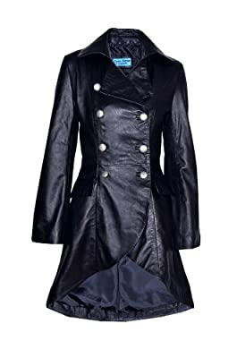 EDWARDIAN Ladies Women Black WASHED Real Leather LACED BACK Jacket Coat Gothic