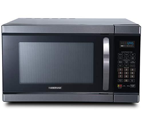 Farberware Black FMO11AHTBSJ 1.1 Cu. Ft 1100-Watt Microwave Oven with Smart Sensor Cooking, Inverter Technology, ECO Mode and Blue LED Lighting, Black Stainless Steel