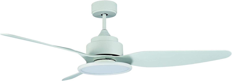 Sulion FIERA - Ventilador de techo con luz LED, 18 W, 4000 K, ABS, color blanco, cuerpo de acero, 3 aspas