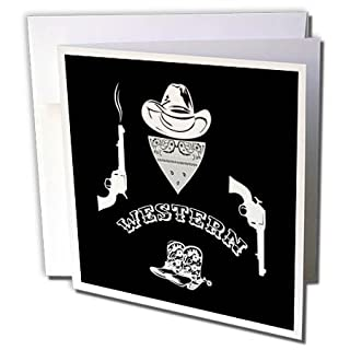 Greeting cards by cowboy west llc my furnitureore 3drose alexis design funny cowboy hat bandana revolvers boots text m4hsunfo