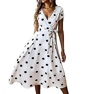 Exlura Summer Vintage Polka Dot Wrap V Neck Short Sleeve Midi Dress with Belt