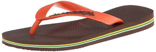 Havaianas Women's Brazil Logo Sandal, Dark Brown/Orange 39/40 BR (9/10 M - Brown Havaianas