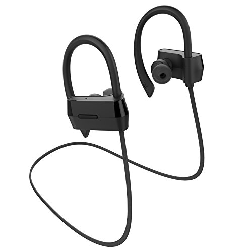 Alolli Bluetooth Headphones Wireless In Ear Earbuds V4.1 Stereo Noise Isolating Sports Sweatproof Headset with Mic, Premium Bass Sound - Black