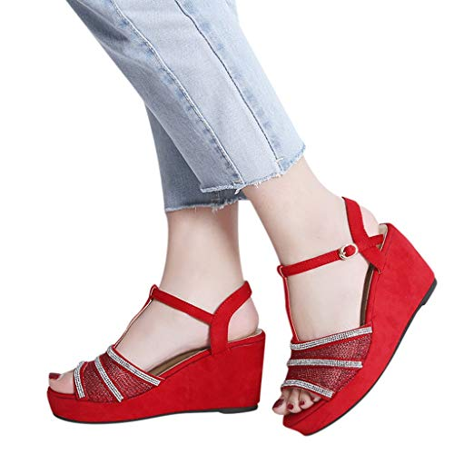 Strap Plateforme Peep Rouge Boucle Sandales Romaine Plateforme Halter et Boucle Sunnywill Womens Rouge Toe T Trendy X7zwqWp