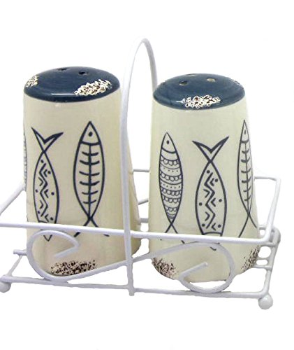 (Antiqued Cream Ceramic Salt & Pepper Shakers with Nautical Blue Fish)