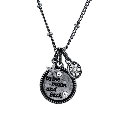 Lux Accessories Boho Burnish Silvertone to The Moon n Back Celestial Charm Necklace (Stevie Nicks Moon Necklace)