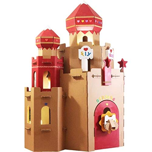 Play Tents Can Be Spliced Cardboard Tent Indoor Children's Play House DIY Corrugated Paper Shell Princess Castle Toy House Carton Gift (Color : Brown, Size : 120115150cm) for $<!--$159.65-->