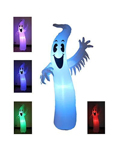 8 Foot Tall Lighted Halloween Inflatable Ghost Monster with Color Changing LEDs Party Decoration for Outdoor Indoor Holiday Decorations, Blow Up LED Lighted Christmas Yard Decor, Giant Lawn ()