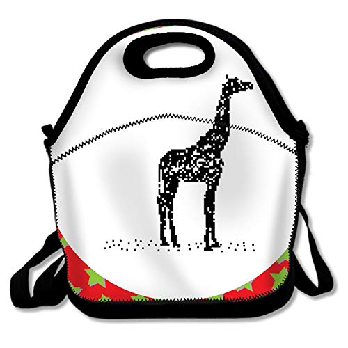 Adult Lunch Box Insulated Lunch Bag Black Giraffe Tote Bag for -