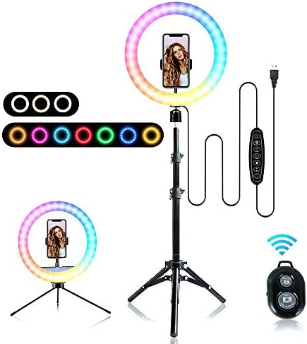 RGB Selfie Ring Light, 12 inch LED Selfie Lights with Extendable Tripod Stand and Phone Holder for Live Video Calls Vlog YouTube Makeup and Photography Compatible with iPhone & Android