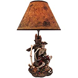 Resin Table Lamps Pirate Skeleton W/Treasure Table Lamp W/Shade 21 Inches Tall 13 X 21 X 13 Inches Multicolored
